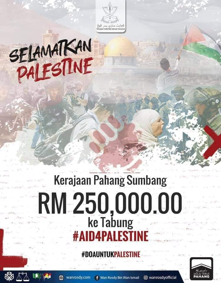 Pahang Sumbang RM250,000 Untuk Palestin