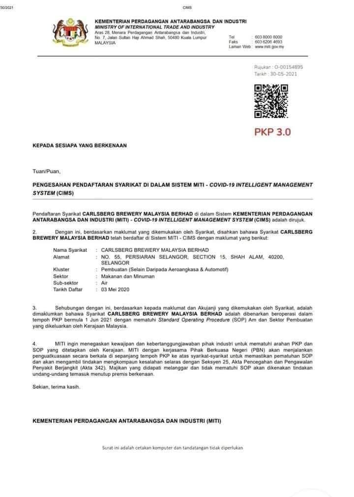 Surat Kebenaran Operasi Kilang Arak