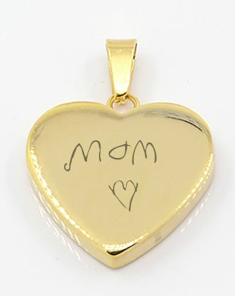 Gold heart necklace, mothers day jewelry gift, engraved heart pendant, custom handwriting necklace, love gift for her with card
