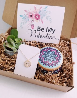 Be my Valentine gift box, Valentines day gift set, Live succulent gift, Valentine gift for her/wife/girlfriend, heart necklace, love jewelry