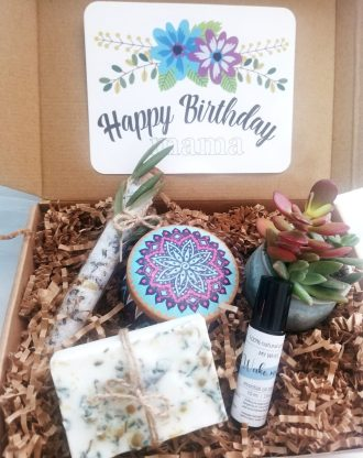 Birthday gift box, natural spa basket, send a care package, live succulent gift box, gift for mom, 100% natural soap products, spa gift set