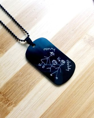 Black tag necklace, child drawing necklace for dad, military tag pendant, unisex engraved pendant, Men necklace, Fathers day gift for him.