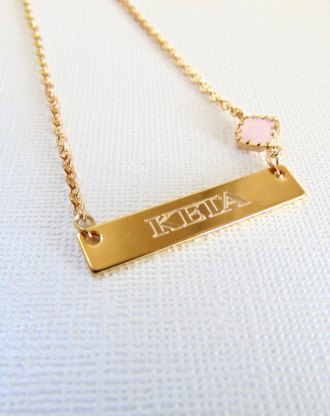 Gold Name necklace, Nameplate bar necklace, engraved jewelry, personalized name pendant, customized birthstone jewelry, October birthday