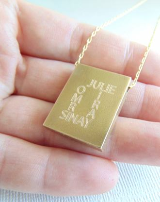 Message pendant, Rectangle necklace, custom quote necklace, engraved name plate pendant, Personalized jewelry, Initial stamped necklace