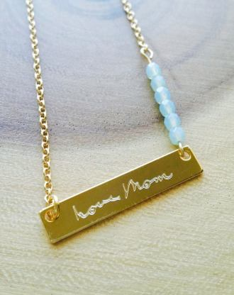 Mothers day gift, Actual Handwriting necklace, Personalized handwritten bar necklace, Custom hand writing gold/silver/rose gold jewelry