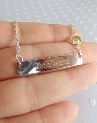 Mothers day gift, nameplate bar necklace, custom name necklace, birthstone jewelry, engraved silver nameplate, message bar, gift for mom.