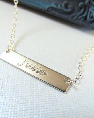 Name Necklace Nameplate Bar necklace engraved jewelry, personalized name Jewelry, Horizontal plate pendant, customized bridesmaid gift.