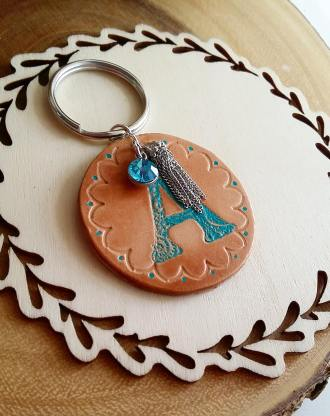 Personalized Leather keychain, birthstones charm, monogram Initials key chain, custom key holder, engraved & stamped leather, hand painted