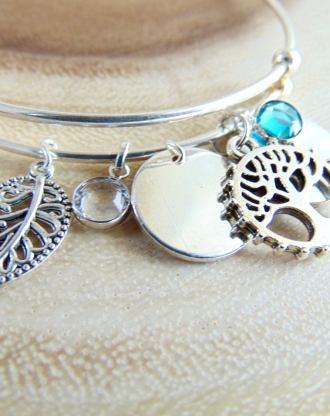 Personalized Silver bangle, adjustable Tree of life bracelet, Leaf charm, birthstone jewelry ,Customized mother Gift, Family tree, Mom&child