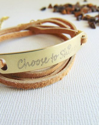 custom listing fo kayla Leather wrap bracelet using handwriting sent