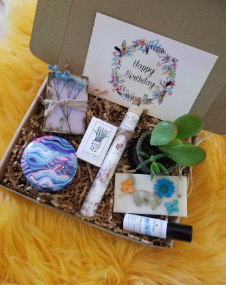 Happy Birthday gift box for her, send a care package, live succulent gift box, relaxation spa set , 100% natural products, friendship gift.