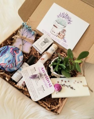 Sending healing vibes gift basket, Thinking of you care package, spirituality gift box, send a healing vibes package, amethyst necklace.