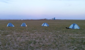 PHOTO: Camp with the Shivee Ovoo coal mine in the background.