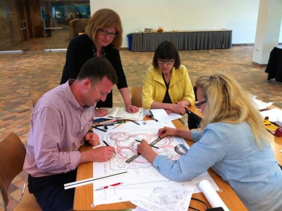 PHOTO: Another team sketches out their Healthcare Garden Design.