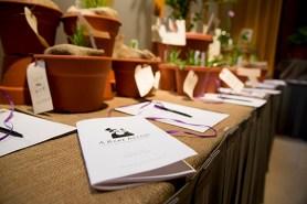PHOTO: Bidsheets and plants at A Rare Affair.