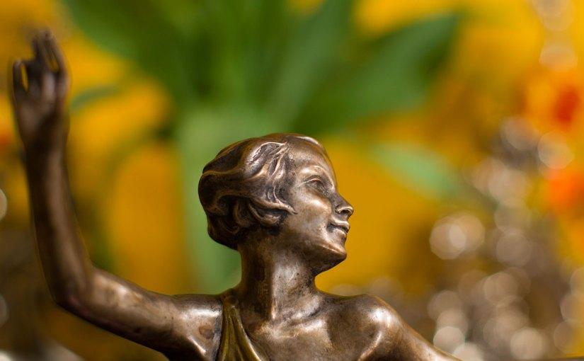 PHOTO: Art Nouveau bronze sculpture of a dancer.