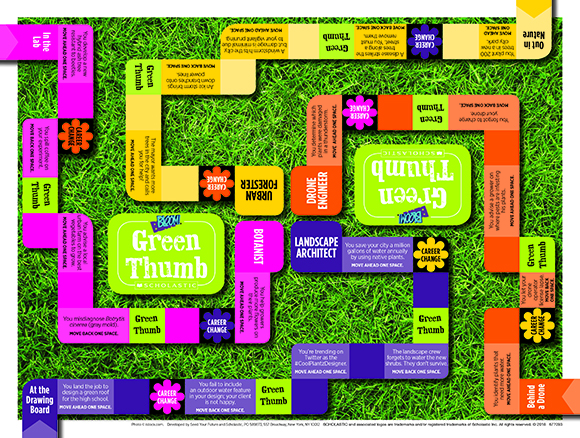 Green industry jobs game board by BLOOM! and Scholastic.
