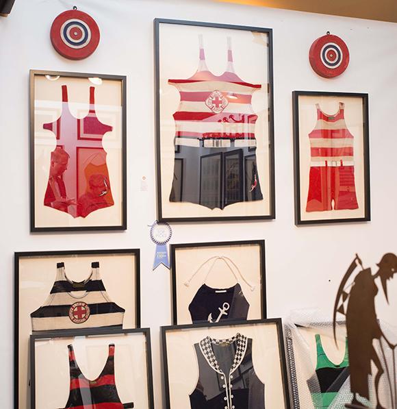 Booth #115, Julie Harris: Framed vintage bathing suits.
