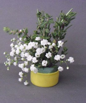 PHOTO: a tiny bouquet of baby's breath and thyme.