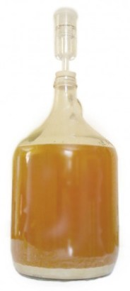PHOTO: Carboy full of beer in process of brewing.