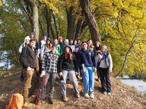 PHOTO: Dr. Martine's class poses for a group shot on a hike.