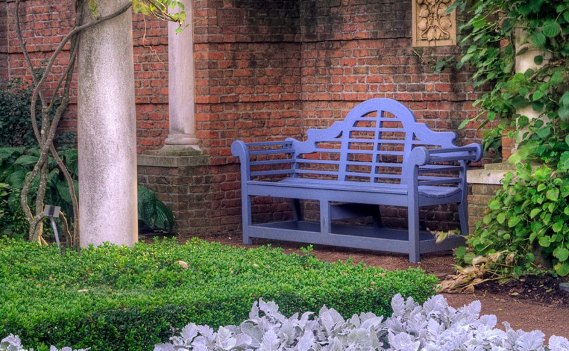 The blue bench in the English Walled Garden at Chicago Botanic Garden