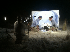 "PHOTO: Filming the episode in the dark. The moth trap provides a backlight for the ""cast."""