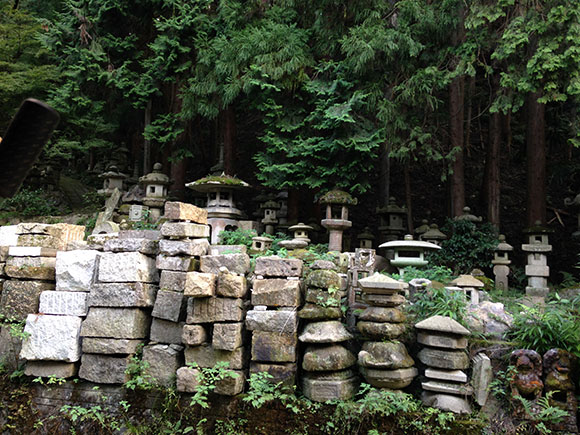 PHOTO: Finished lanterns dwell between the forest and unworked stone in the foreground.