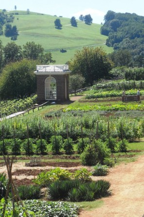 The vegetable garden at Monticello has a simple layout and a world-class view.