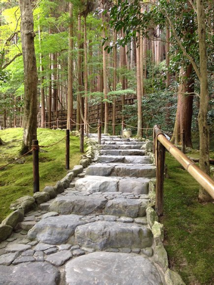 PHOTO: Mossy path up the hill at Ginkakuji.