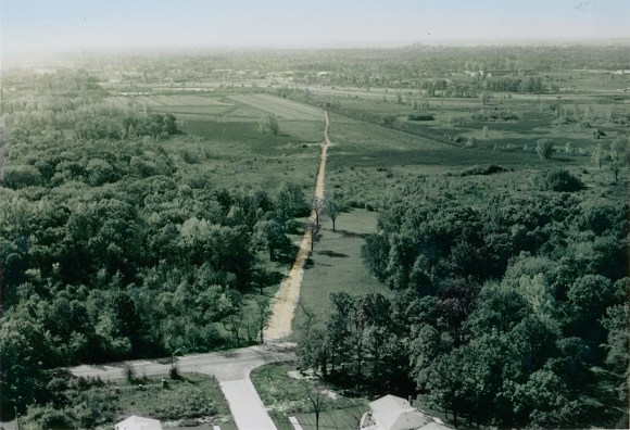 PHOTO: A view south of the site of the future Chicago Botanic Garden; low in the horizon is the city of Chicago.