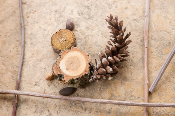 PHOTO: A squirrel made from tree cookies, pine cones, acorns.