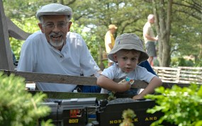 PHOTO: Visitors of all ages enjoy the Model Railroad Garden.