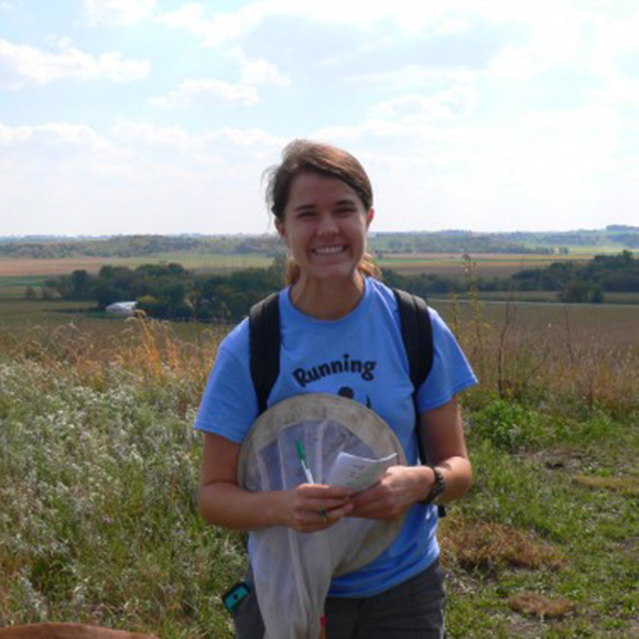 Amy Waananen studies populations of Echinacea angustifolia in Western Minnesota as a research assistant for The Echinacea Project, a long-term ecological study that began in 1995.