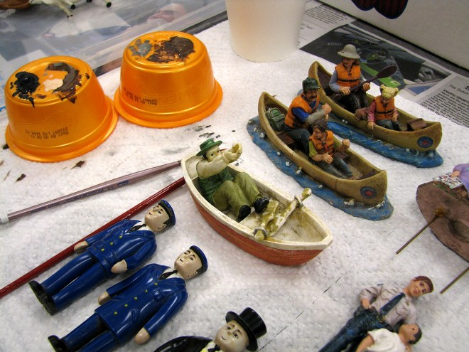 PHOTO: Miniature boaters and fishermen.