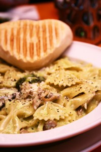 PHOTO: farfalle pasta with mushrooms and herbs.