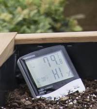 PHOTO: A hygrometer in Spike's planter measures relative humidity in the greenhouse.