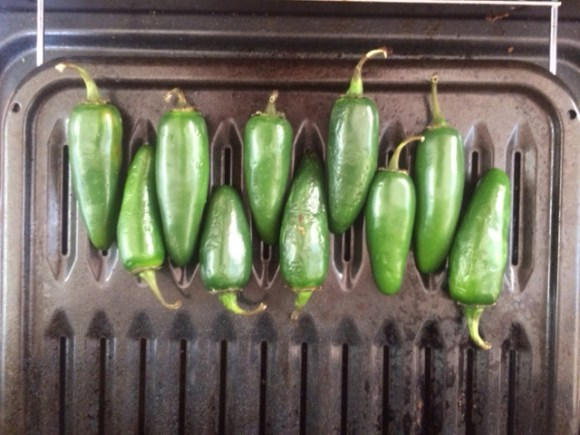 PHOTO: peppers on a roasting rack.