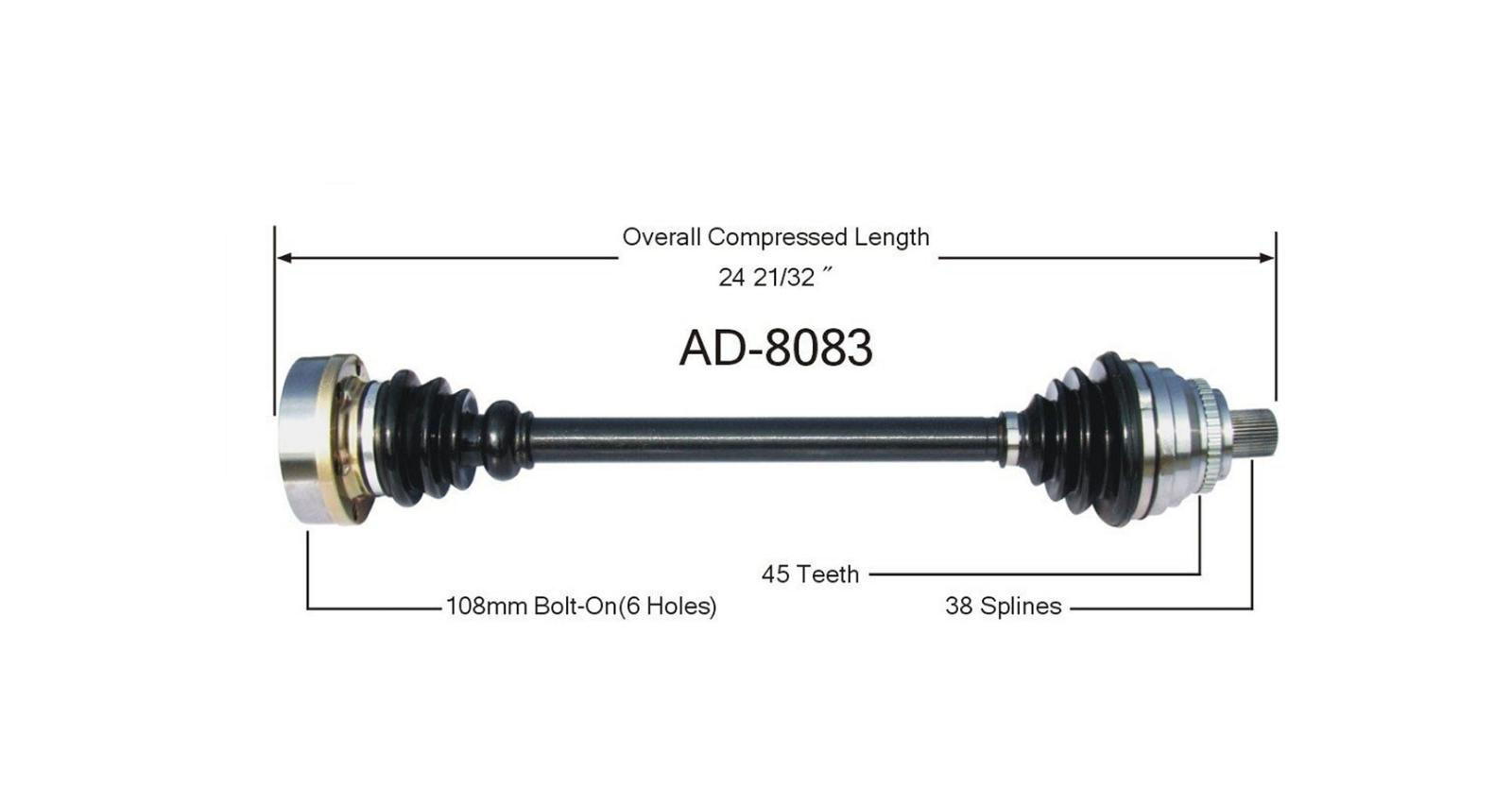 New Cv Drive Axle Shaft Fits Audi A6 S6 97 Front