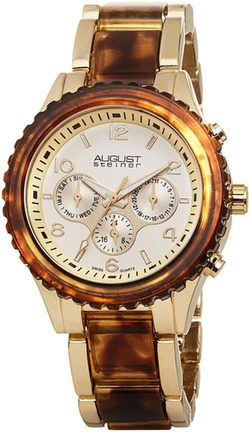 August Steiner AS8093YG Swiss Quartz Day Date GMT Twotone