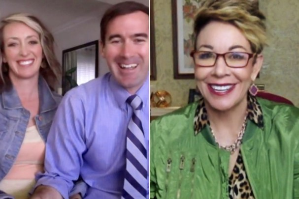 Split screen couple smiling on one side, and Carol smiling on the other