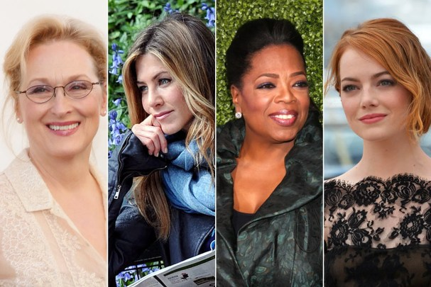 Which celebrity are you most like? Collage of Meryl Streep, Jennifer Anniston, Oprah, and Emma Stone
