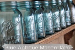 blue antique mason jars