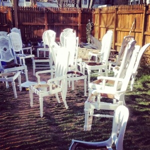 Vintage white dining chair rentals