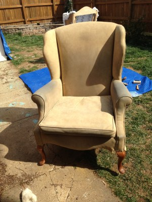Old suede upholstery on this wingback...ready to get removed