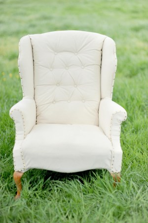 cream upholstered chair for rent