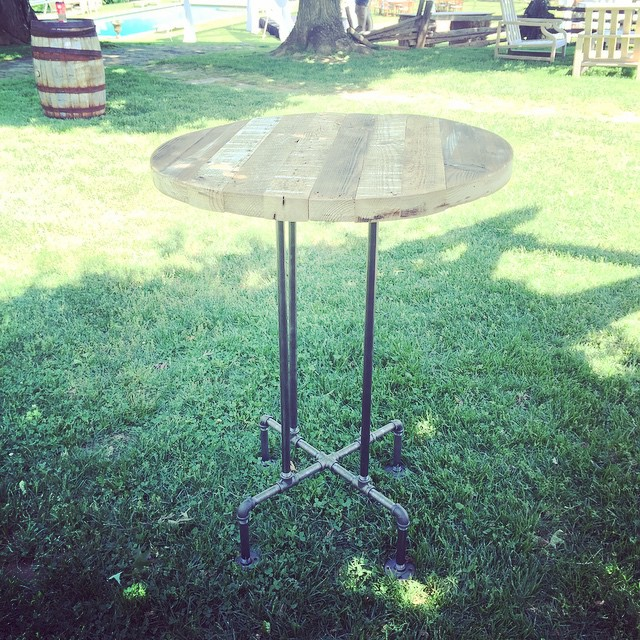 We're stoked to finally show off our new collection of reclaimed wood highboy tables at today's wedding in Loudoun!  Handmade in with ️from DC by @zpb101 #vintagerentals #vintage #reclaimed #industrial #aCreativeDC #handmade #create #wardmanwood