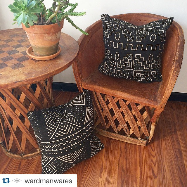 To go with our furniture builds and upholstered pieces @wardmanwares will be offering fun vintage treasures and #handmade pillows like these #mudcloth beauties! Can't wait to take our site live!! #bohostyle #homedecor #interiordesign #vintage #vintagerentals #dc #acreativedc #tribal #boho #madeintheusa