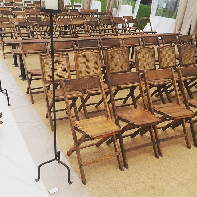Getting our pretty Palmer chairs and industrial benches all set up at the @theyardsdc with @aimeedominick @dcreventrentals @sugarplumtents for today's wedding.  Can't wait to see the final product!  #dcwedding #dcevents #dc #vintagerentals #vintage #industrial #reclaimed #wedding #acreativedc