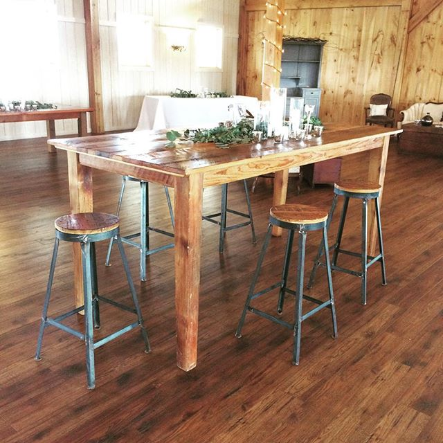 Setting up our pub height farm tables and #industrial barstools with the awesome @middleburgeventsstudio, @bluewaterkitchen @shadowcreekweddings for this beautiful wedding tonight! #acreativedc #vintagerentals #events #vawedding #eventrentals #reclaimed #reclaimedwood #salvaged #vintage #barn #barnwedding